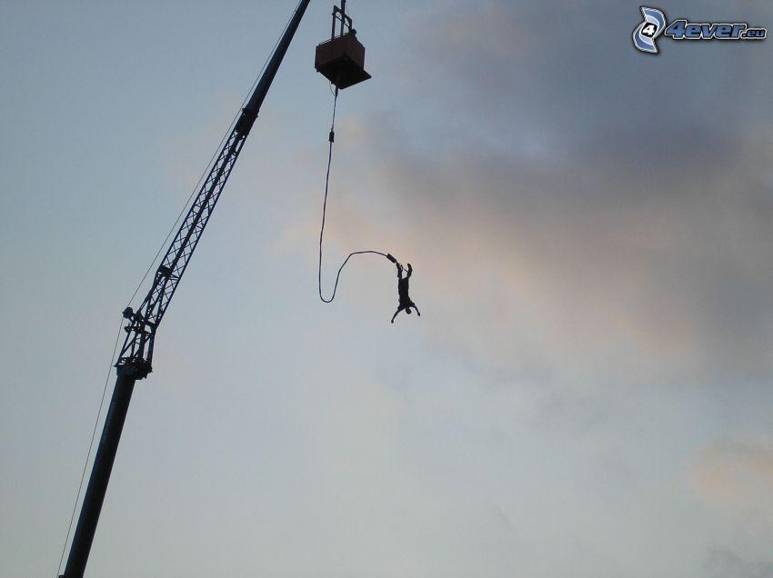 Bungee jumping, fritt fall, lyftkran