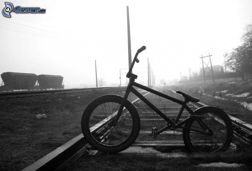 BMX, cykel, järnväg, svart och vitt