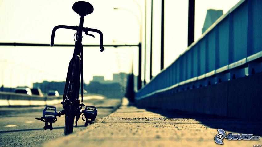 cykel, trottoar