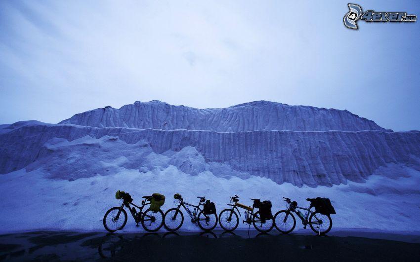 cyklar, snö, is