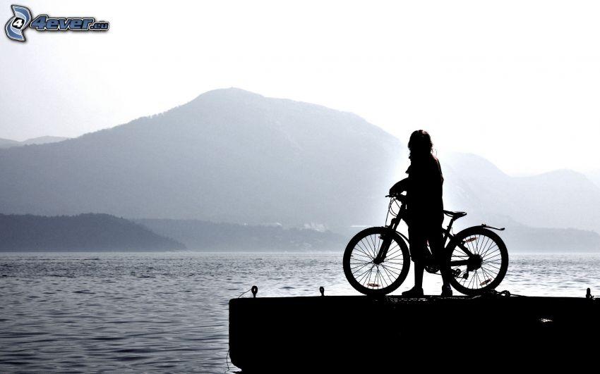 cyklist, silhuett, bergskedja, sjö