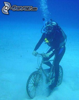 dykare, cykel, vatten