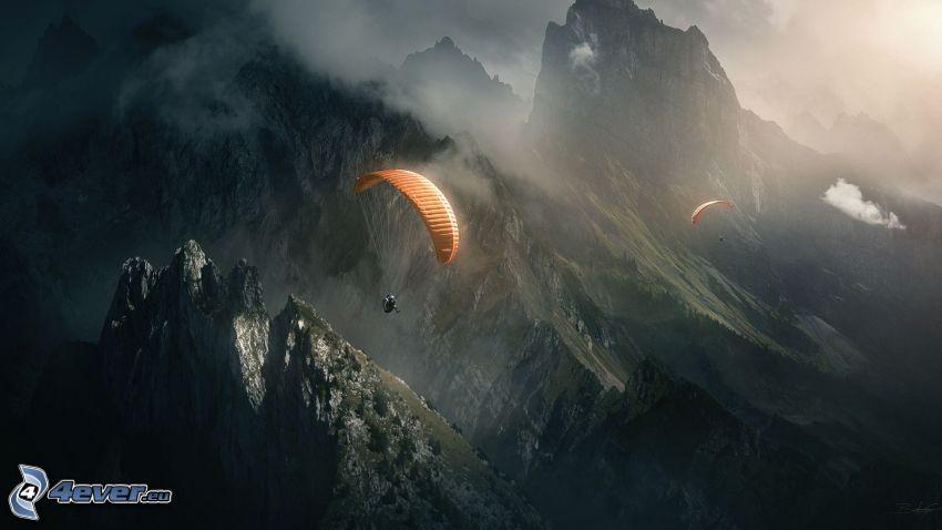 fallskärmshopp, berg