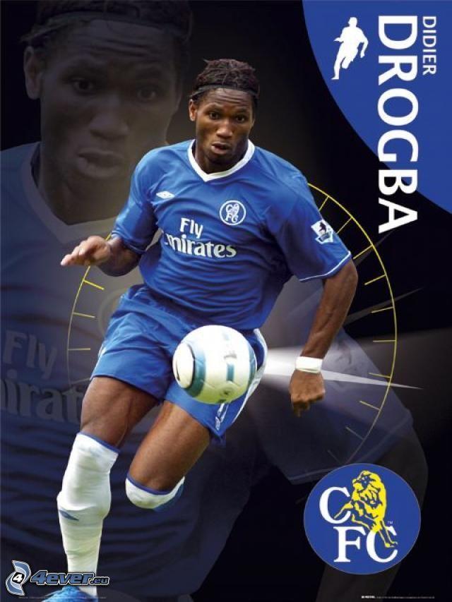 Didier Drogba, Chelsea, fotbollsspelare med boll