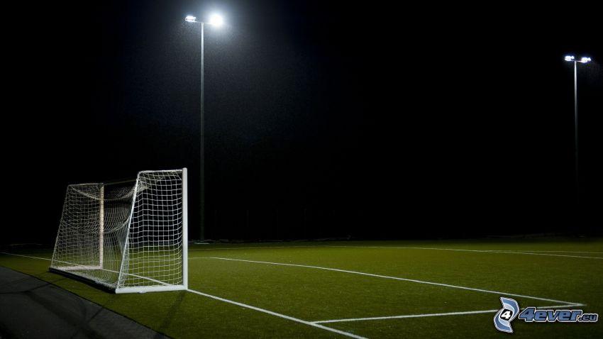 fotbollsplan, mål, belysning, natt