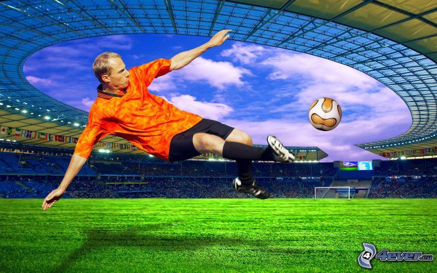 fotbollsspelare med boll, stadion