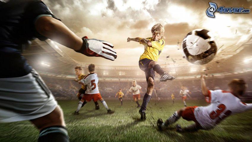 fotbollsspelare med boll