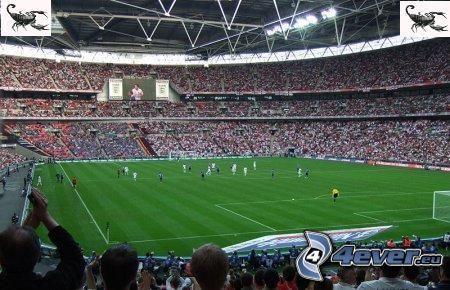 fotbollsstadion, fotboll, publik, gräs, fotbollsplan