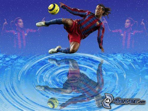 Ronaldinho, fotbollsspelare med boll, mörkhyad man