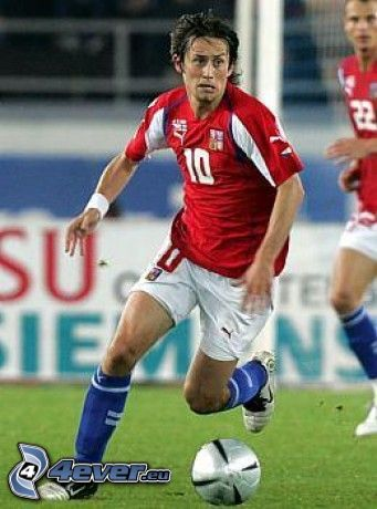 Tomáš Rosický, fotbollsspelare med boll, gräs, Tjeckien
