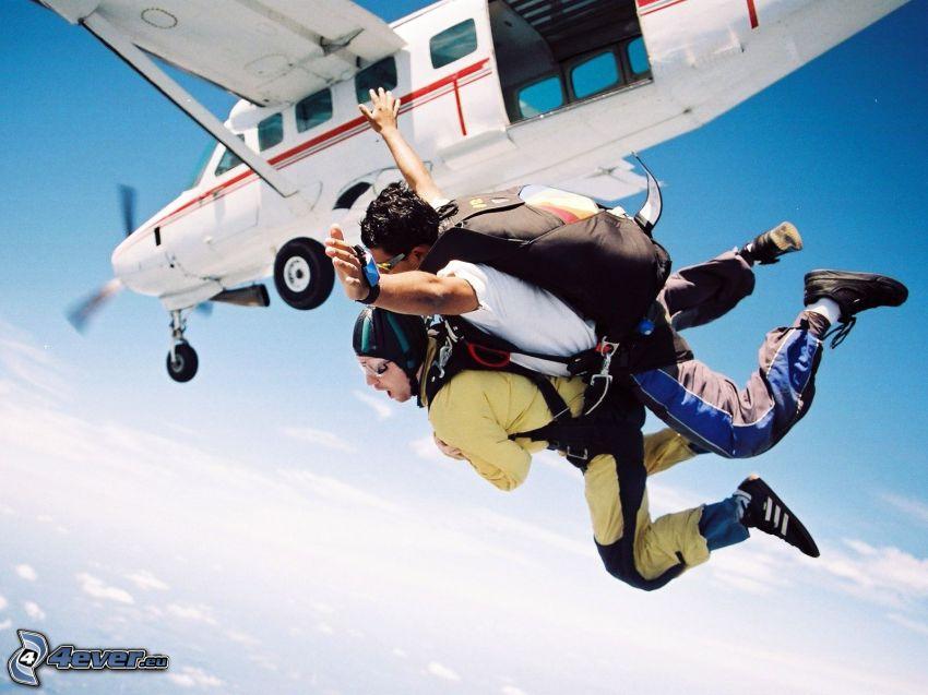 fritt fall, tandem, flygplan