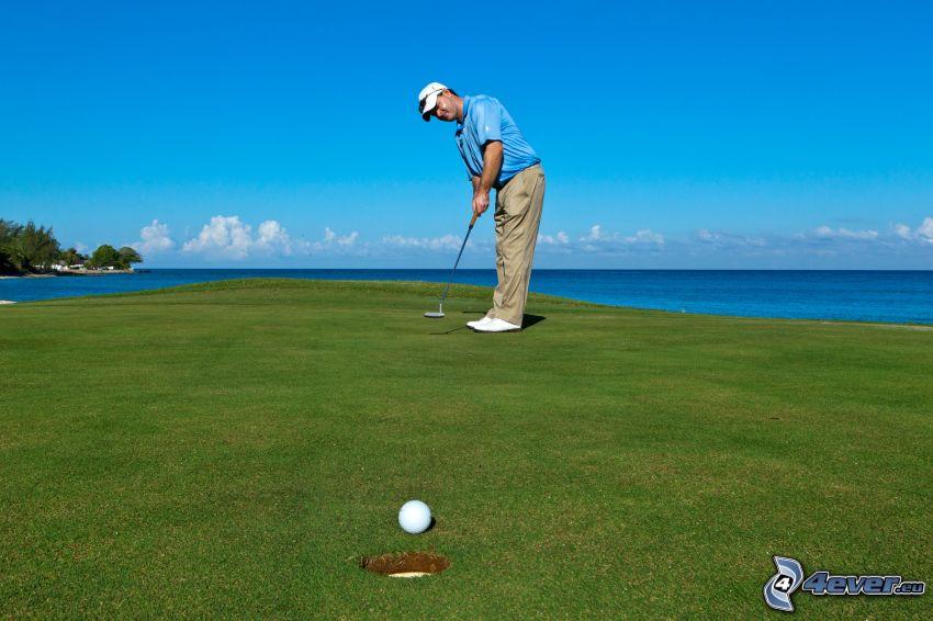 golf, golfspelare, hav