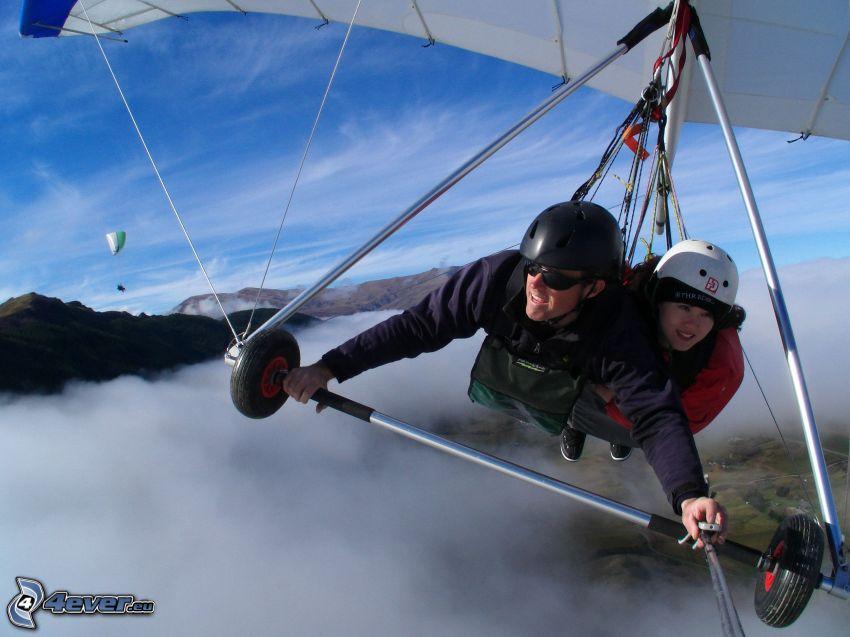 hängglidare, tandem, paragliding, ovanför molnen