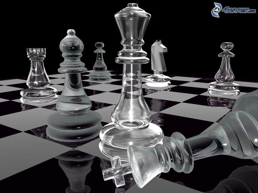schack, schackpjäser, glas, schackbräda, svart och vitt