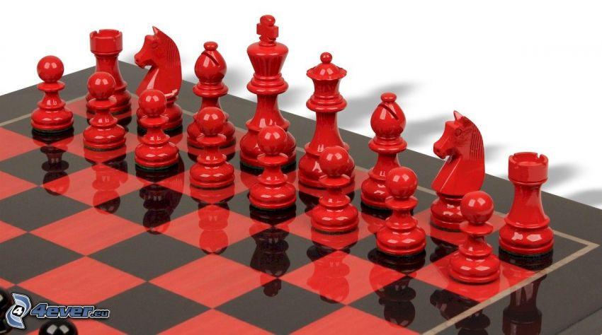schack, schackpjäser, schackbräda, röd
