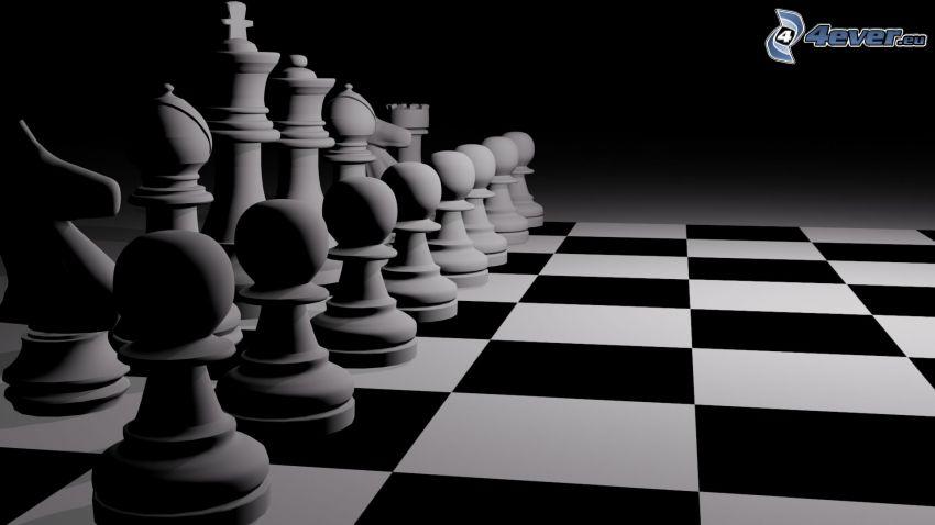 schack, schackpjäser, svart och vitt