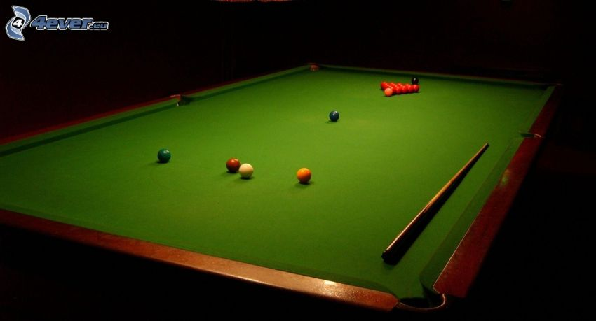 snooker, kö, kulor