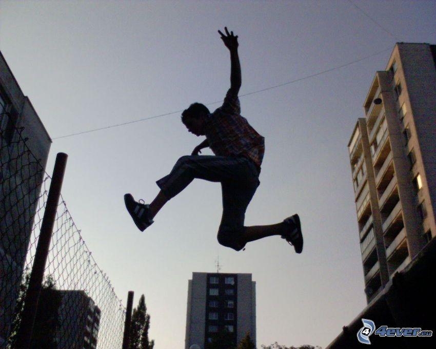 stuntman, hopp, bosättning