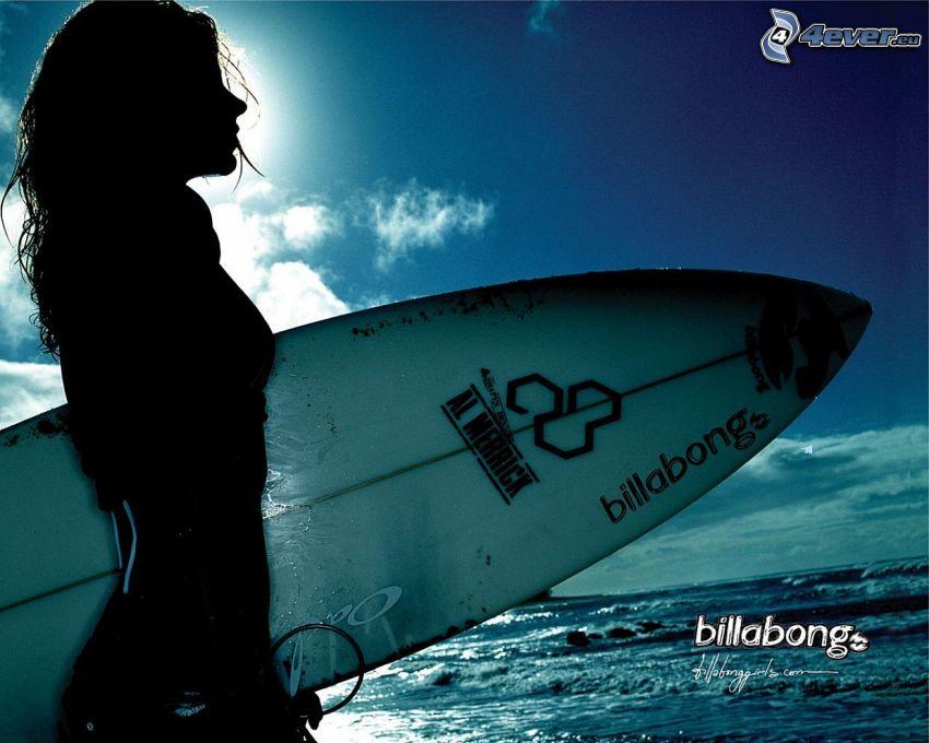 surfare, kvinna, silhuett, hav, billabong