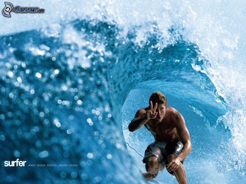 surfare, våg