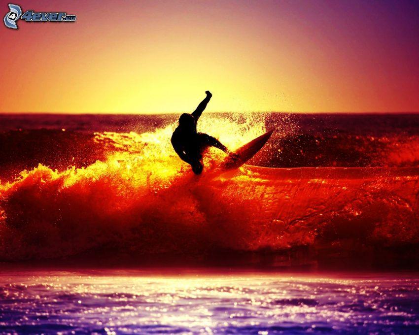 surfing, färgat, vågor