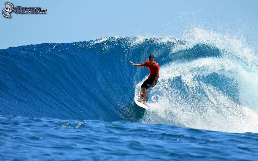 surfing, hav, våg