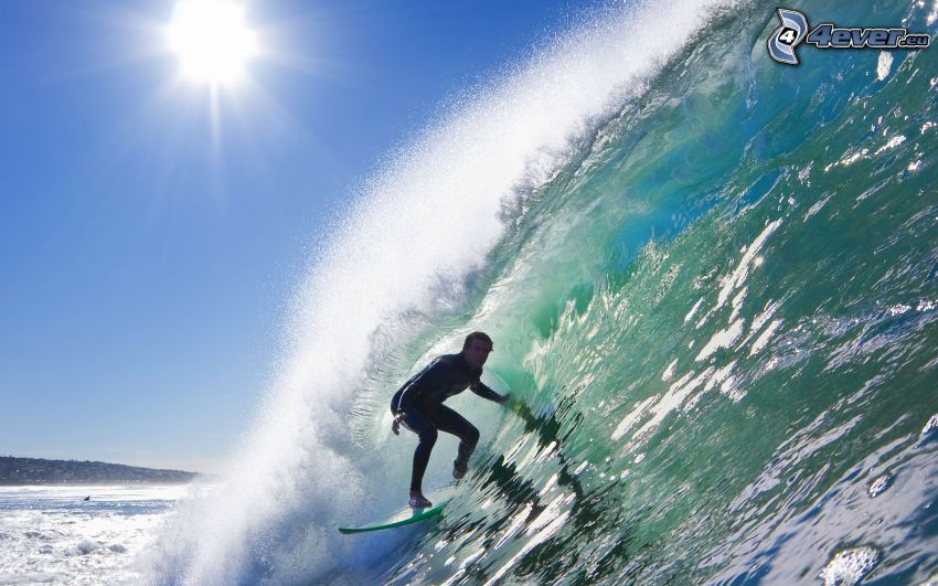 surfing, våg, sol