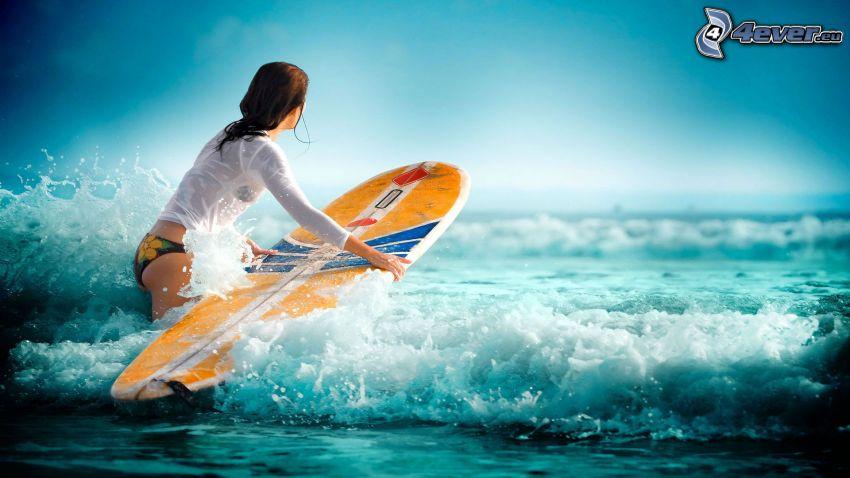 surfing, vågor, kvinna i havet