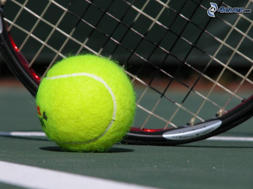 tennis, boll, raket