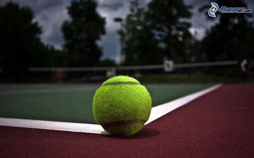 tennisboll, tennisplan, kväll