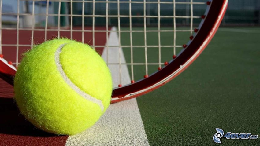 tennisboll, tennisracket, tennisplan