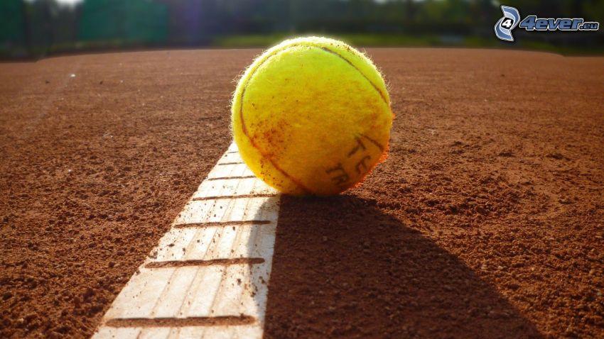 tennisboll, vit linje, sand