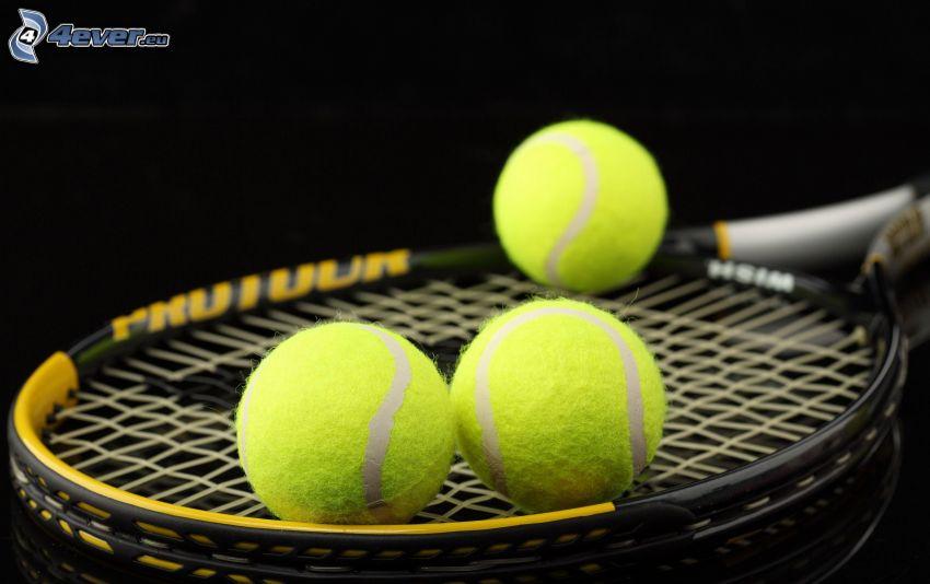 tennisracket, bollar, tennis