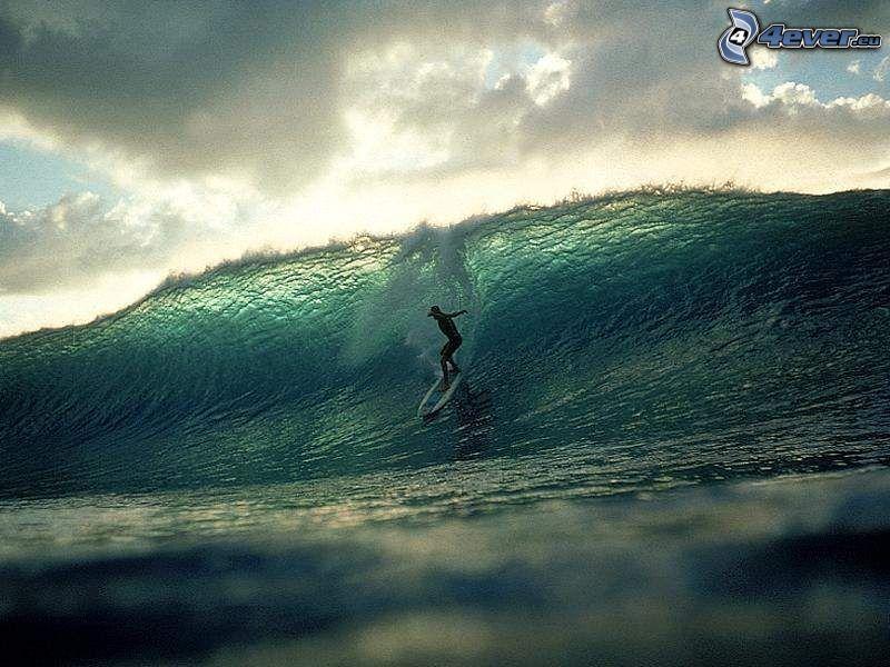 våg, surf, moln, hav