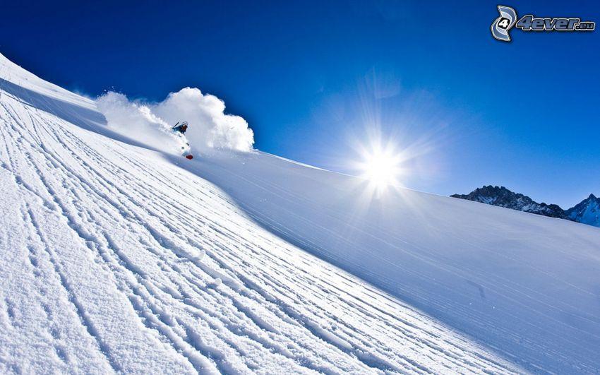 backe, skidåkare, sol