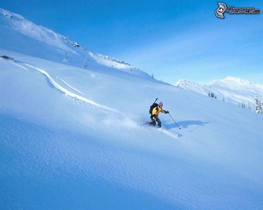 extrem skidåkning, snöklädda berg