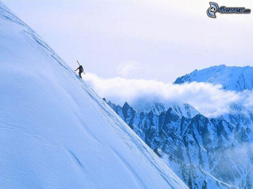skialpinist, adrenalin, skidåkare, berg