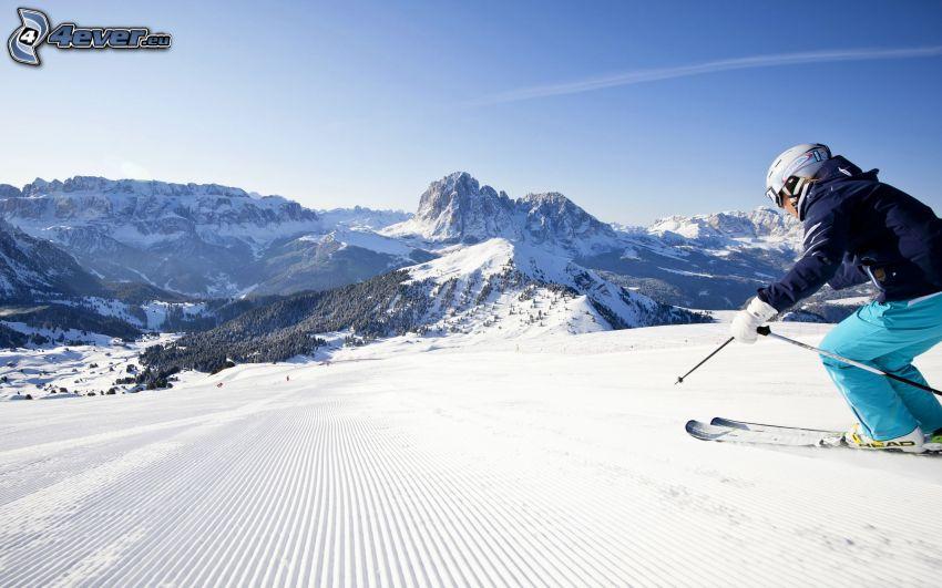 skidåkare, backe, klippiga berg