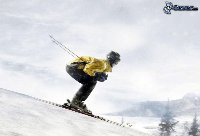 skidåkare, backe, snö, fart