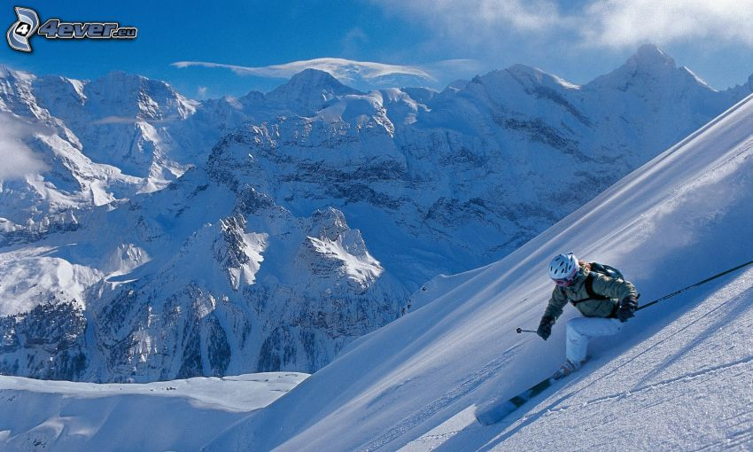 skidåkare, backe, snöig bergskedja