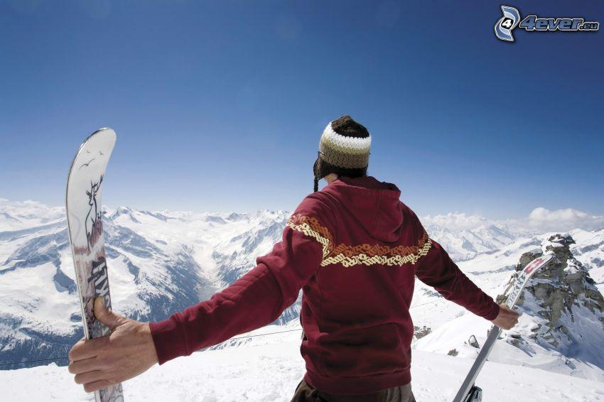 skidåkare, snöiga kullar, utsikt