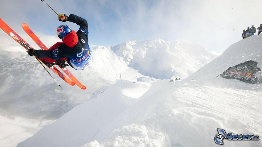 skidåkning, skidåkare, snöigt landskap, snöklädda berg