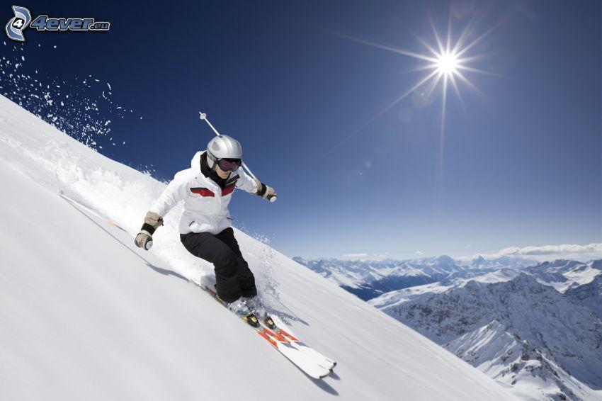 skidåkning, snö, sol