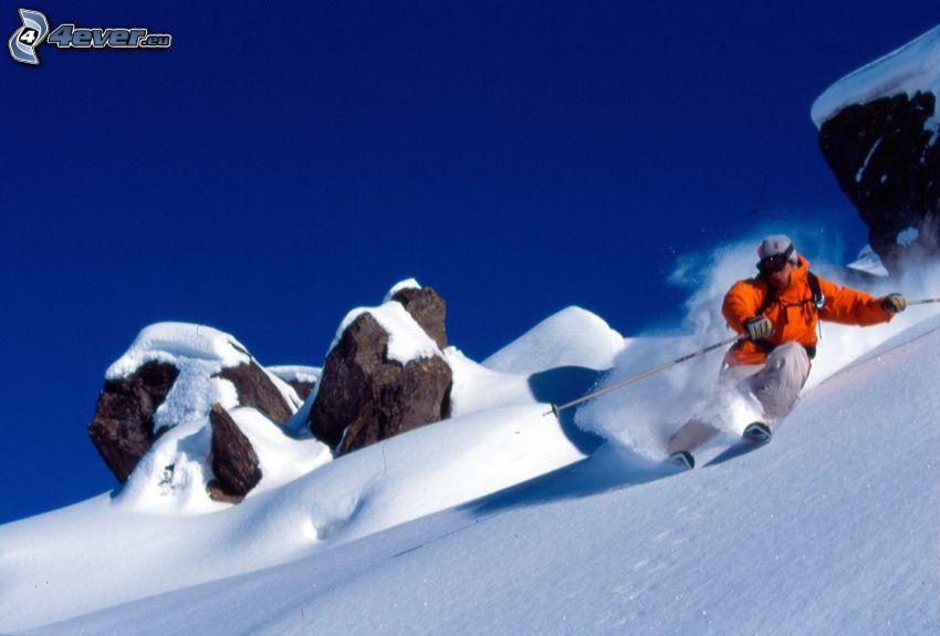 skidåkning, snö