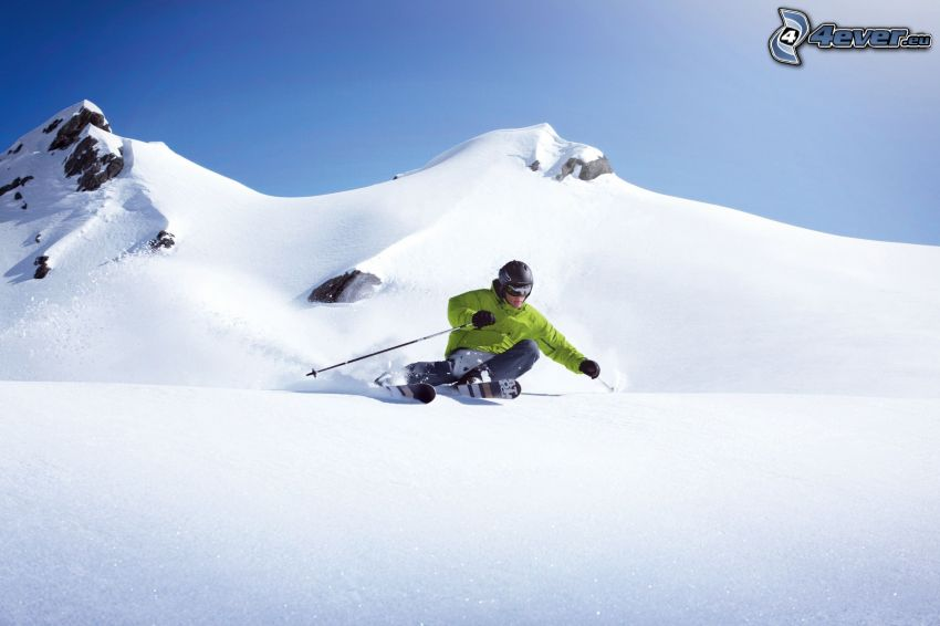 skidåkning, snöig backe