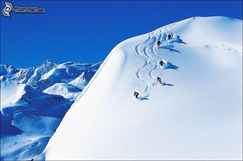 skidåkning, snöiga kullar, snö, skidåkare