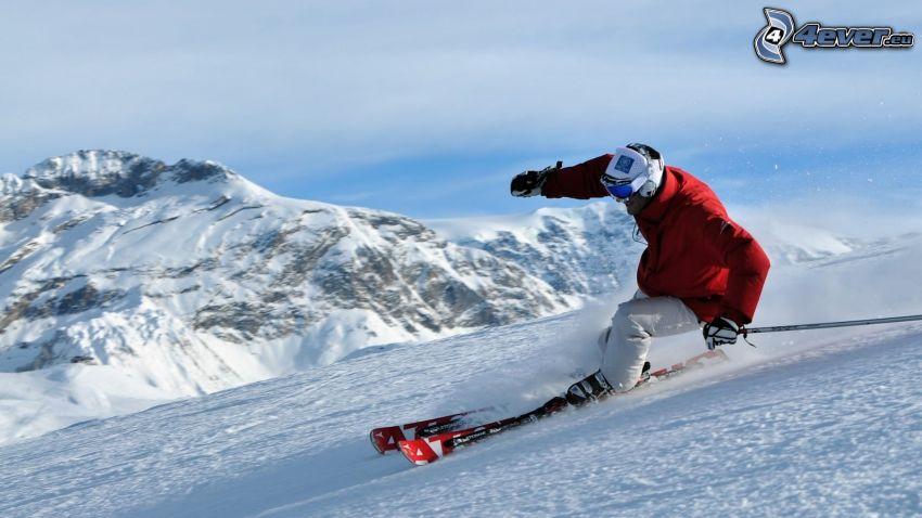 skidåkning, snöigt berg