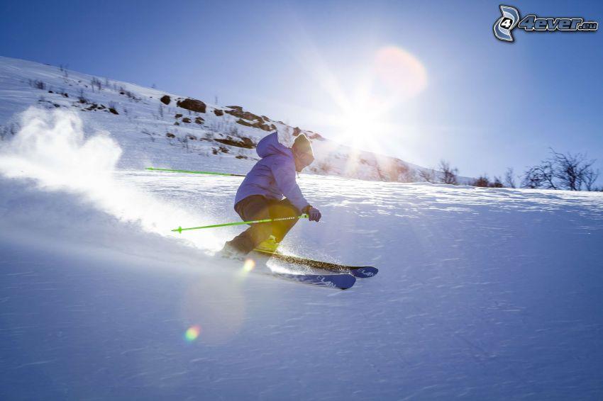 skidåkning, sol, snö