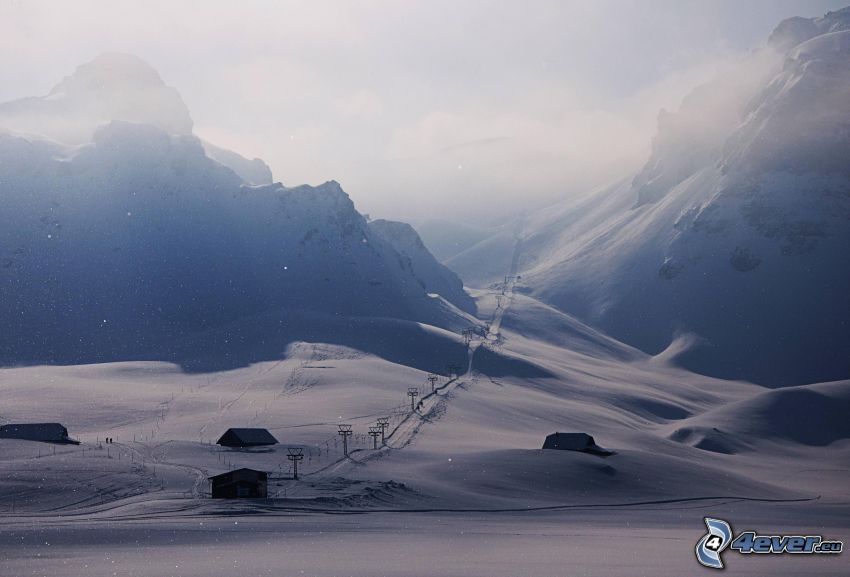 skidlift, snöigt landskap