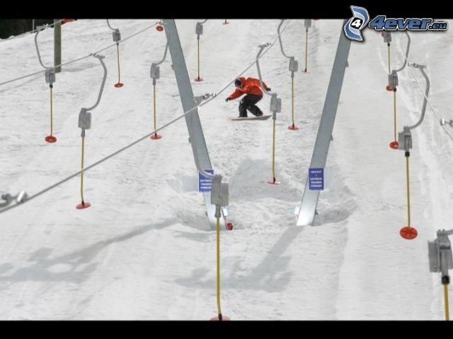 snowboard, skidlift